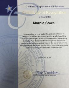 Marnie Certificate